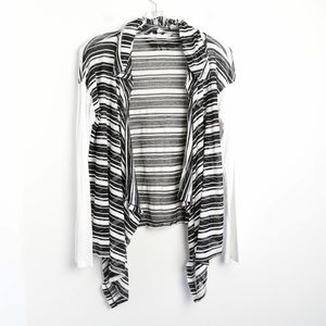 Hem&Thread striped hooded open cardigan knit comfy